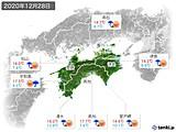 2020年12月28日の四国地方の実況天気