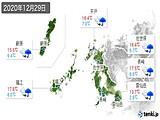 2020年12月29日の長崎県の実況天気