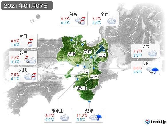 近畿地方(2021年01月07日の天気