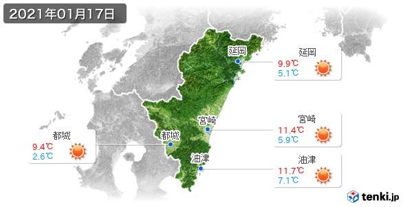 宮崎県(2021年01月17日の天気