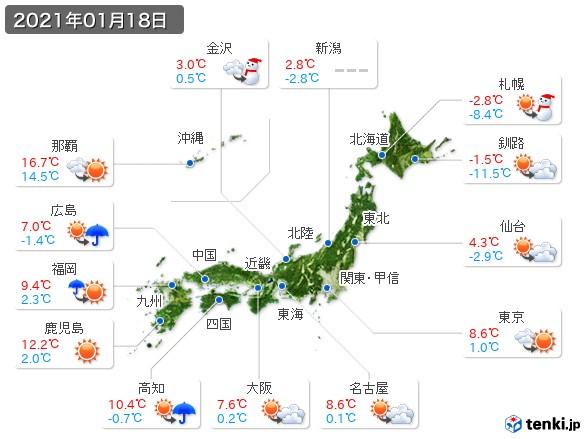 (2021年01月18日の天気