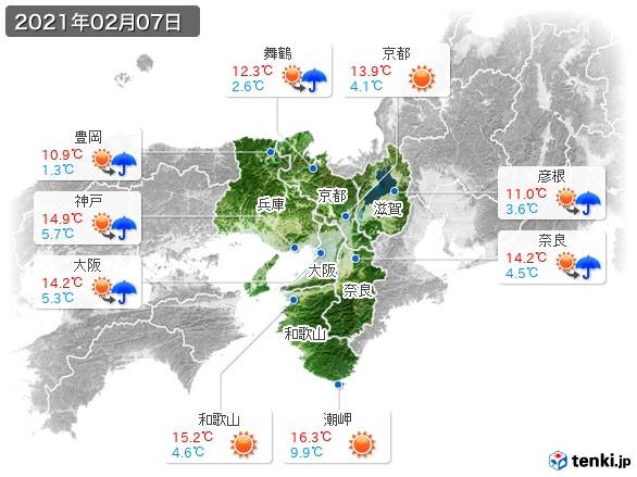 近畿地方(2021年02月07日の天気