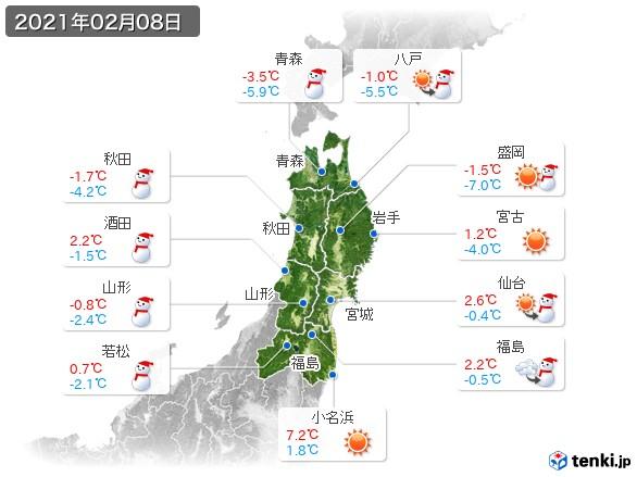 東北地方(2021年02月08日の天気