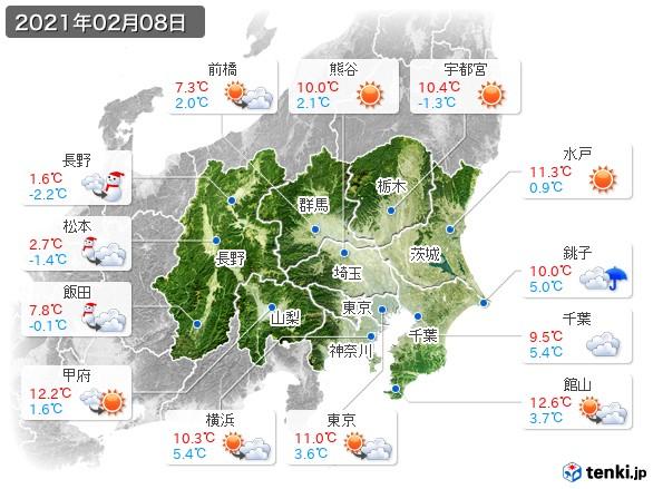 関東・甲信地方(2021年02月08日の天気