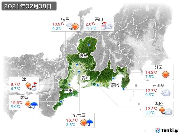東海地方(2021年02月08日の天気