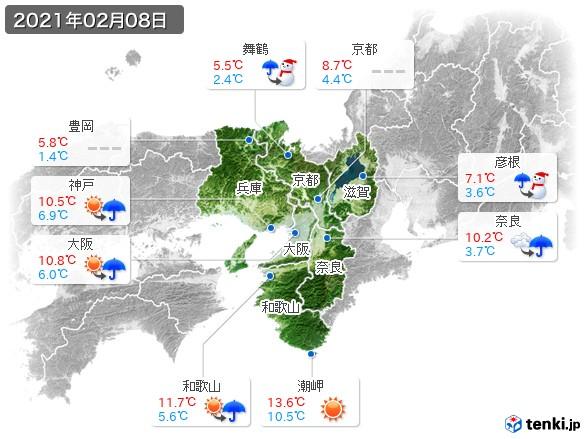 近畿地方(2021年02月08日の天気