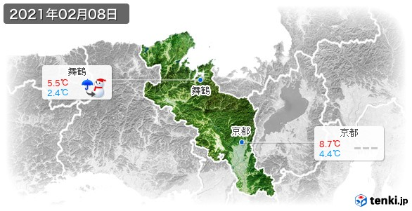 京都府(2021年02月08日の天気