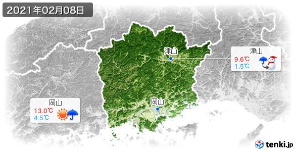 岡山県(2021年02月08日の天気