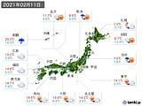 実況天気(2021年02月11日)