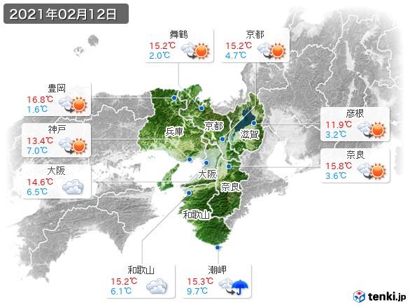 近畿地方(2021年02月12日の天気