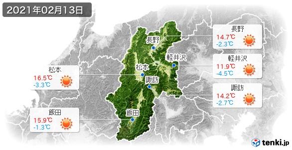 長野県(2021年02月13日の天気