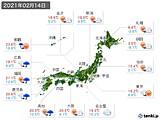 実況天気(2021年02月14日)