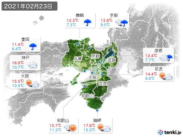 近畿地方(2021年02月23日の天気