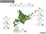 2021年02月28日の北海道地方の実況天気