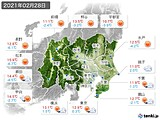2021年02月28日の関東・甲信地方の実況天気