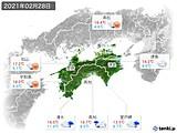 2021年02月28日の四国地方の実況天気