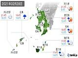 2021年02月28日の鹿児島県の実況天気