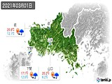 2021年03月01日の山口県の実況天気