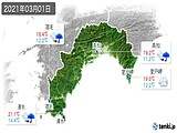 2021年03月01日の高知県の実況天気