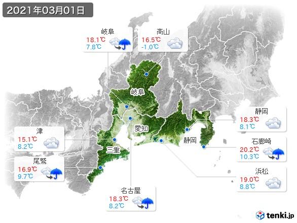 東海地方(2021年03月01日の天気