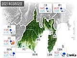 2021年03月02日の静岡県の実況天気