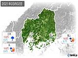 2021年03月02日の広島県の実況天気