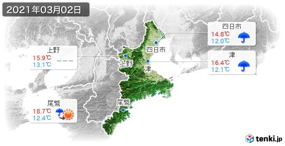三重県(2021年03月02日の天気