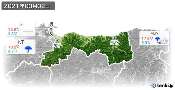 鳥取県(2021年03月02日の天気