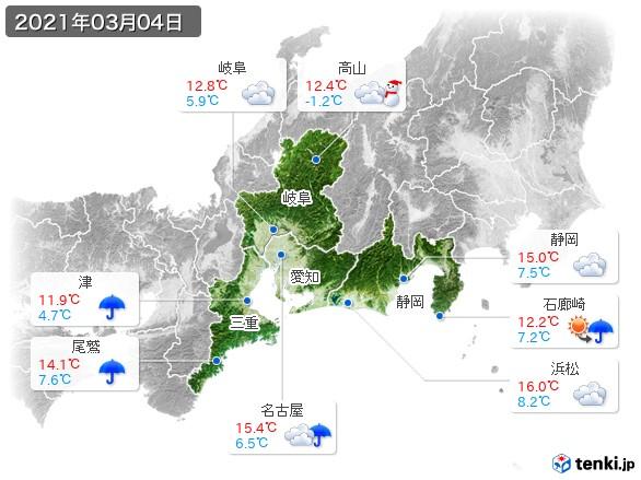 東海地方(2021年03月04日の天気