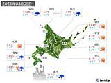 2021年03月05日の北海道地方の実況天気
