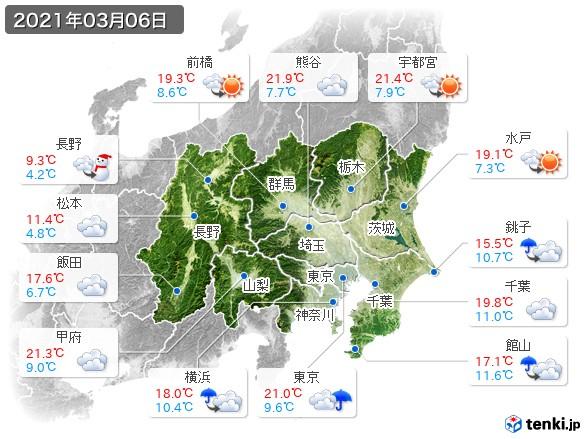 関東・甲信地方(2021年03月06日の天気