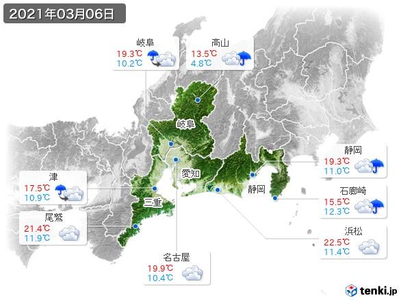 東海地方(2021年03月06日の天気