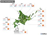 2021年03月07日の北海道地方の実況天気