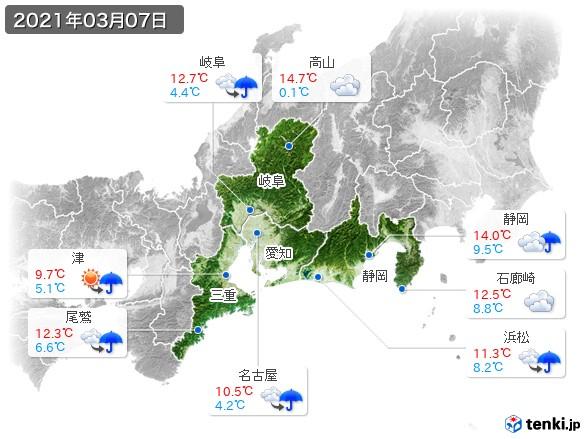 東海地方(2021年03月07日の天気