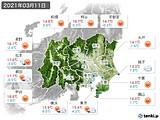 2021年03月11日の関東・甲信地方の実況天気