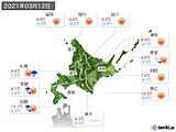2021年03月12日の北海道地方の実況天気