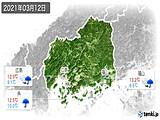 2021年03月12日の広島県の実況天気