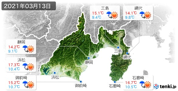 静岡県(2021年03月13日の天気