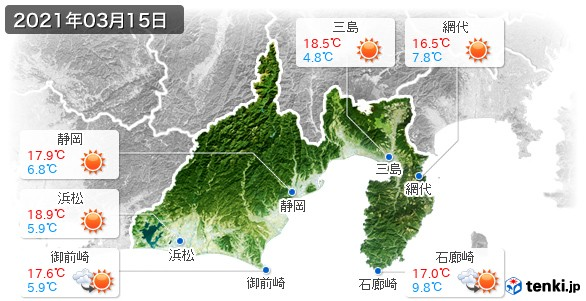 静岡県(2021年03月15日の天気
