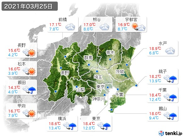 関東・甲信地方(2021年03月25日の天気