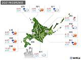 2021年03月26日の北海道地方の実況天気