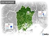 2021年03月28日の岡山県の実況天気