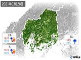 2021年03月28日の広島県の実況天気