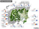 2021年03月29日の関東・甲信地方の実況天気