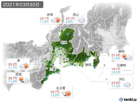 東海地方(2021年03月30日の天気