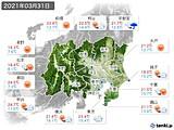 2021年03月31日の関東・甲信地方の実況天気
