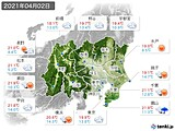 2021年04月02日の関東・甲信地方の実況天気