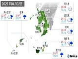 2021年04月02日の鹿児島県の実況天気
