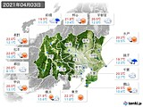 2021年04月03日の関東・甲信地方の実況天気