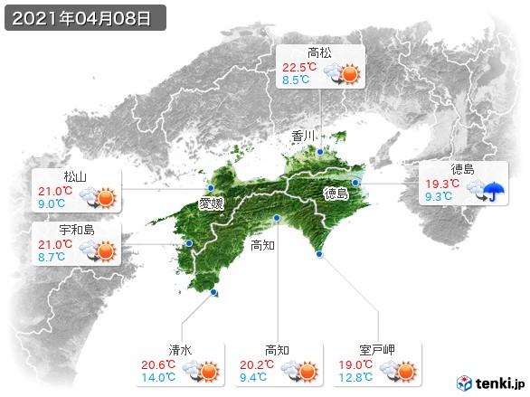 四国地方(2021年04月08日の天気